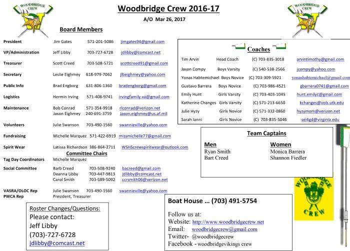 Crew Board Coaches 2016-17