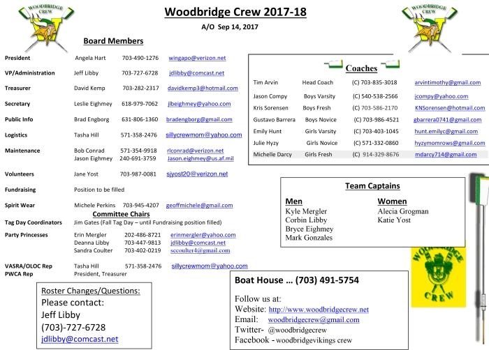 Crew Board Coaches 2017-2018